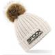 Team Spoox Motorsport Cream Pom Pom Beanie Hat