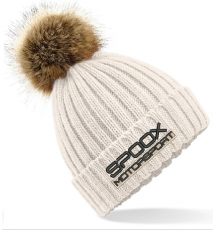 Team Spoox Motorsport Cream Pom Pom Beanie Hat