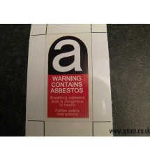 Peugeot 205 & 309 Caution Asbestos Slam Panel Sticker